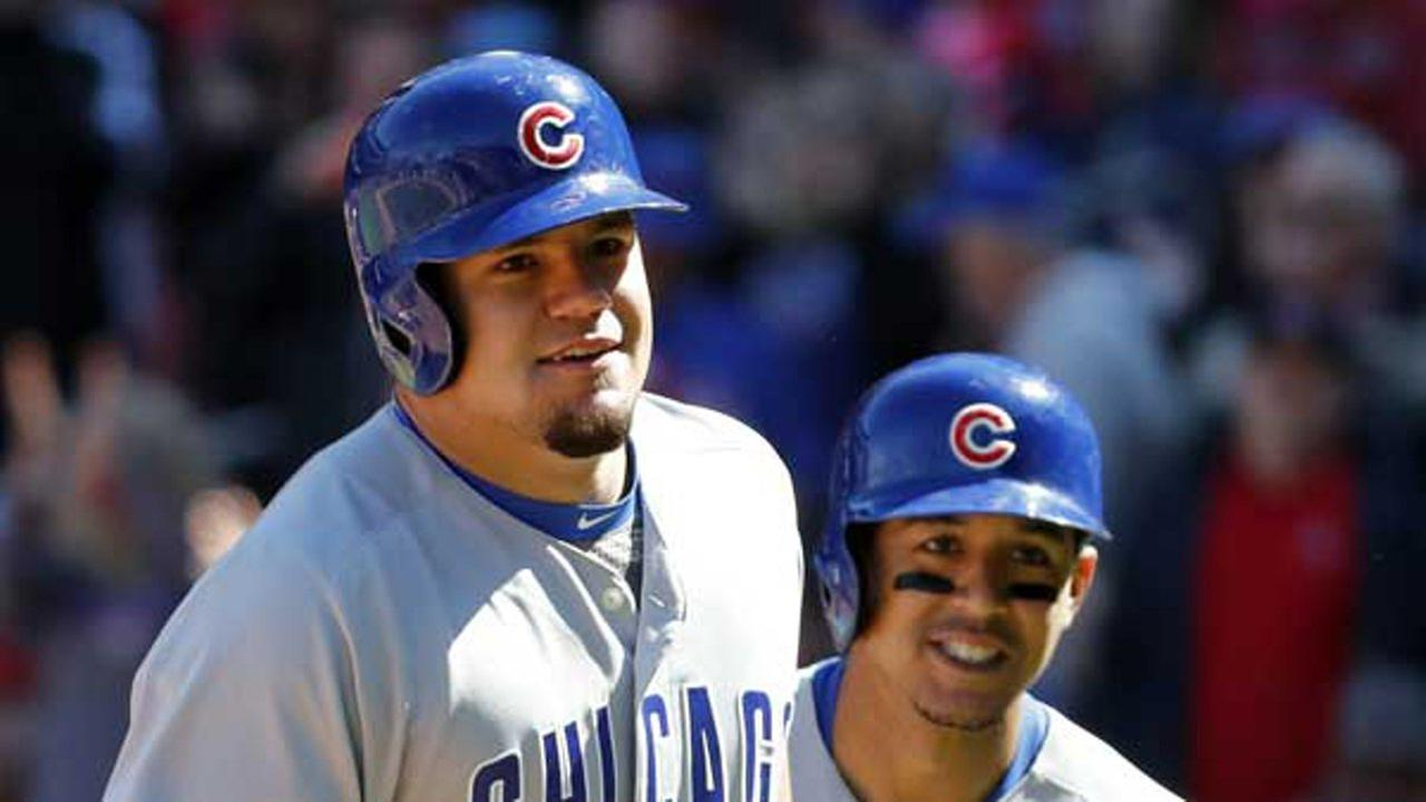 Chicago Cubs Kyle Schwarber, left, celebrates alongside teammate Jon Jay after hitting a three-run home run in St. Louis.