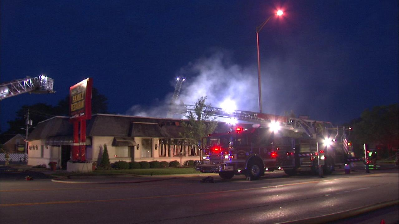 Fire destroyed Grandma Sallys Family Restaurant in Naperville early Friday morning.