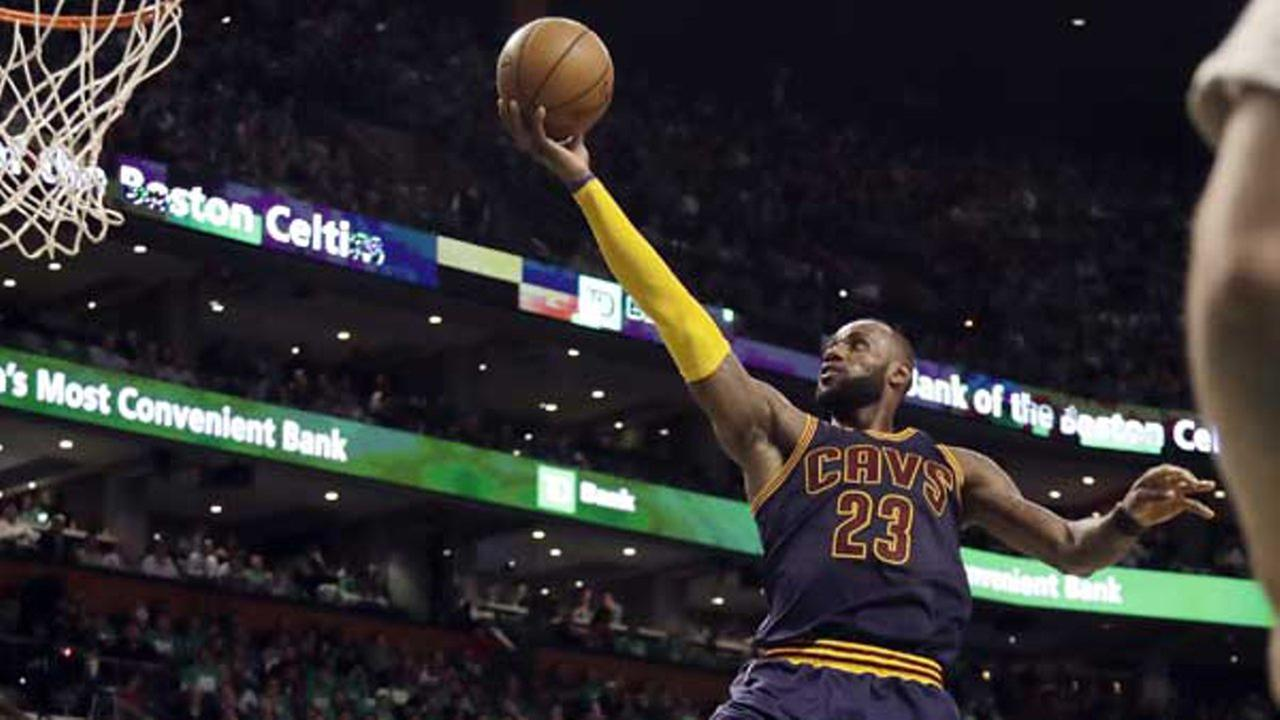 Cleveland Cavaliers forward LeBron James (23) soars to the basket during the second half of Game 5 of the NBA basketball Eastern Conference finals.