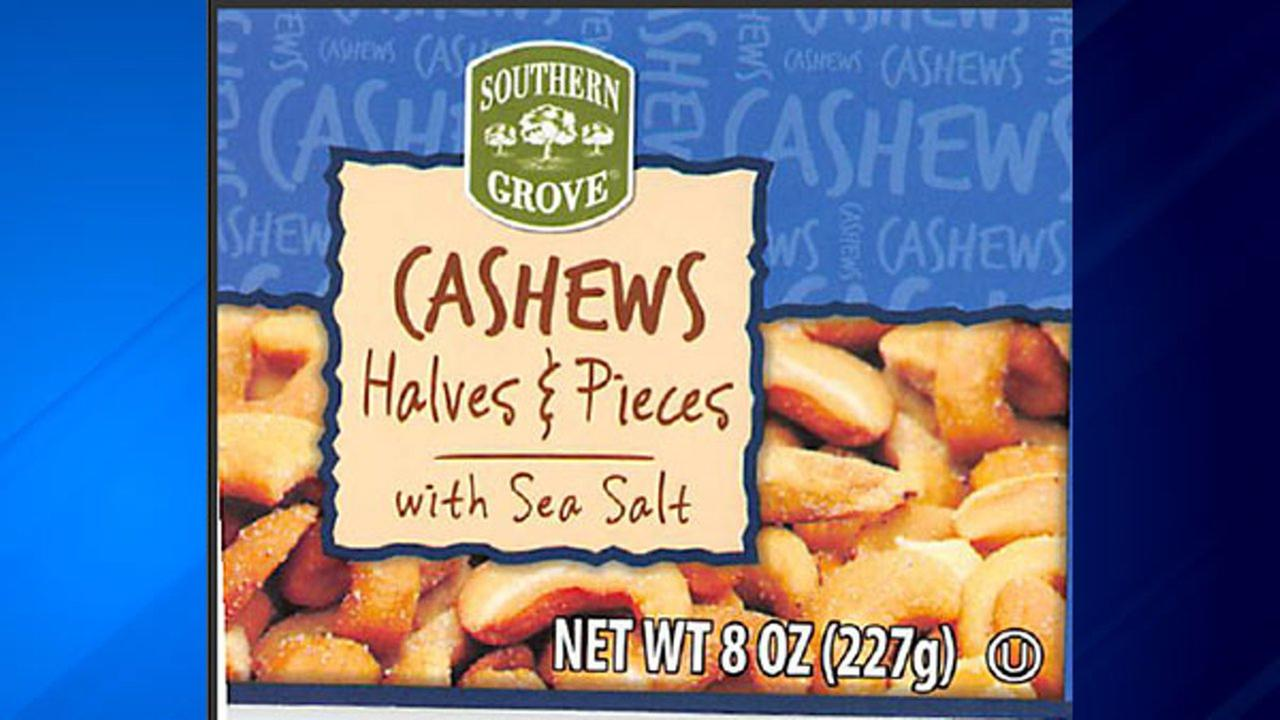 Southern Grove Cashews Halves and Pieces with Sea Salt are being recalled due to reports of glass pieces found in the product.