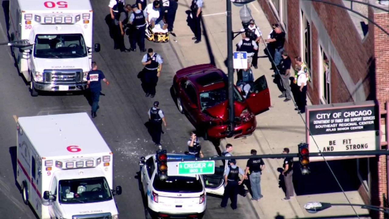 Three people were injured in a shooting and crash on Chicagos South Side Wednesday afternoon.