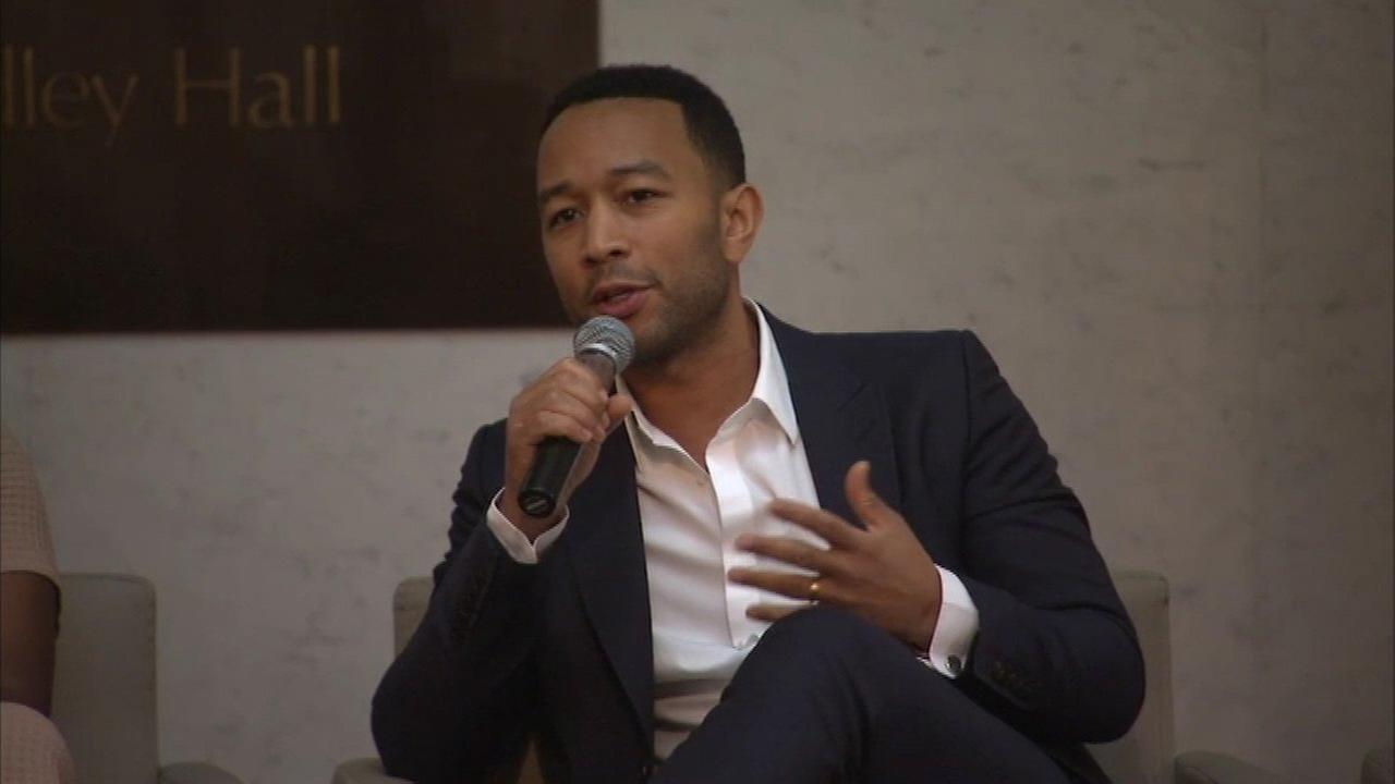 Grammy award-winning singer John Legend was in Chicago Friday attending a panel discussion with local leaders on how to stop violence across Chicago.