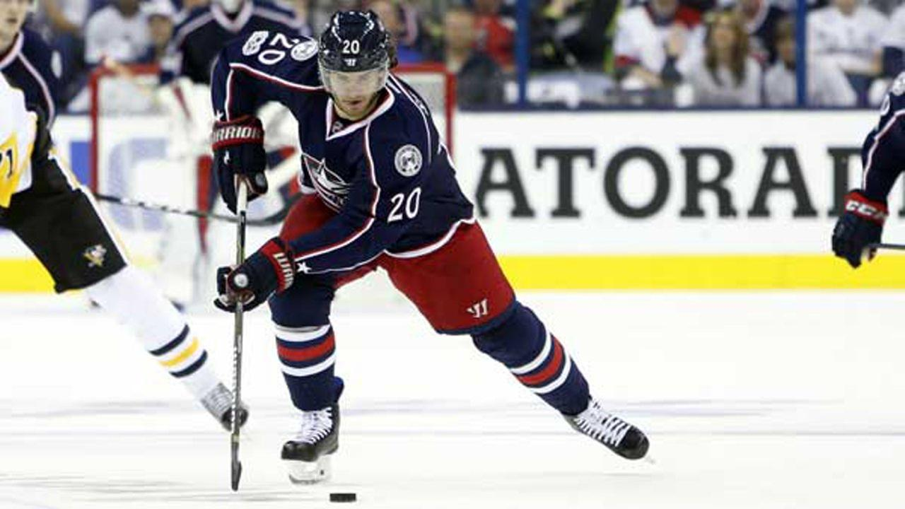 Columbus Blue Jackets Brandon Saad plays against the Pittsburgh Penguins during Game 3 of a first-round NHL hockey playoff series Sunday, April 16, 2017, in Columbus, Ohio.
