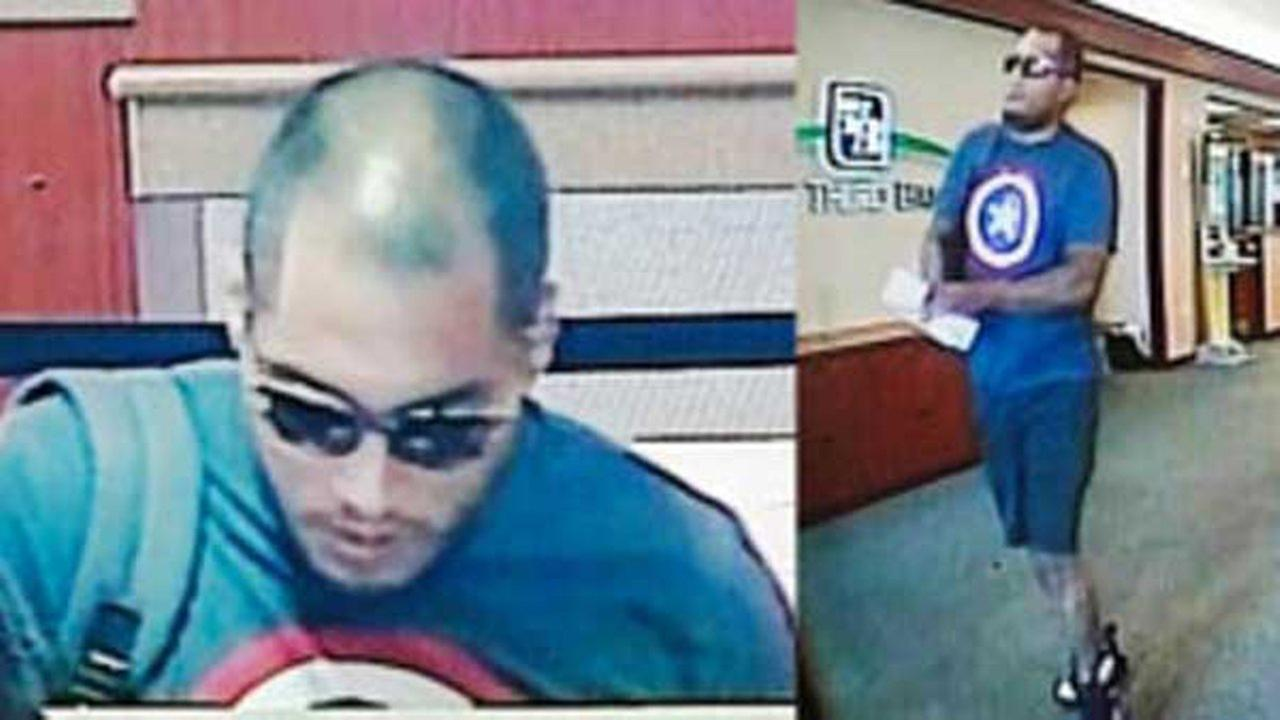 Surveillance photos of the man who robbed a Country Club Hills bank Tuesday afternoon.