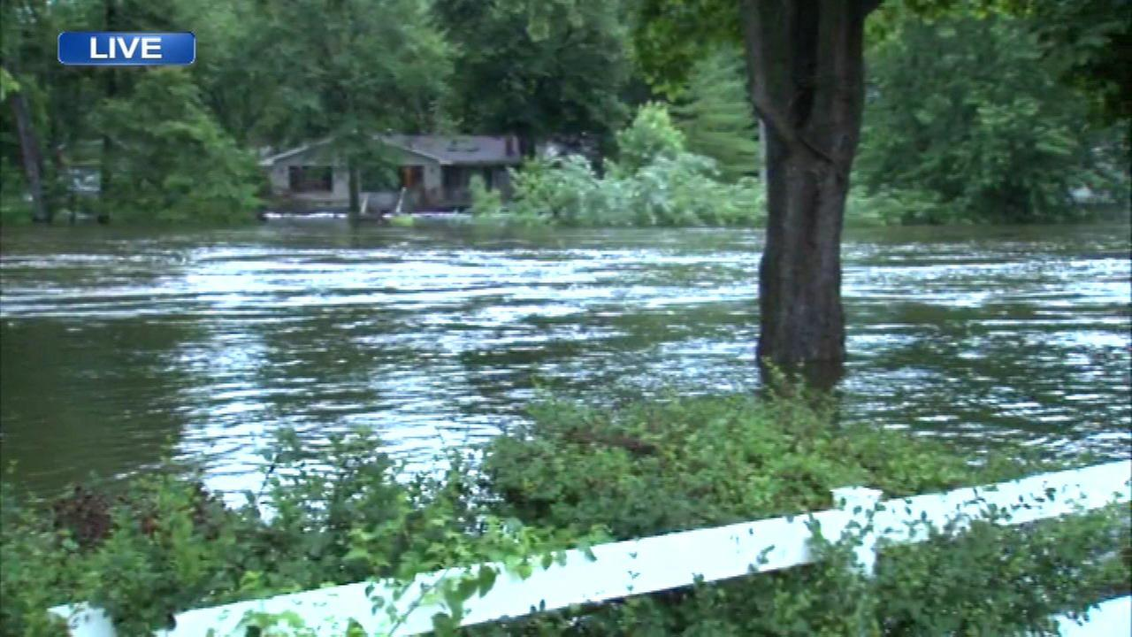 Rain caused the Fox River to rise again Saturday morning in Algonquin.