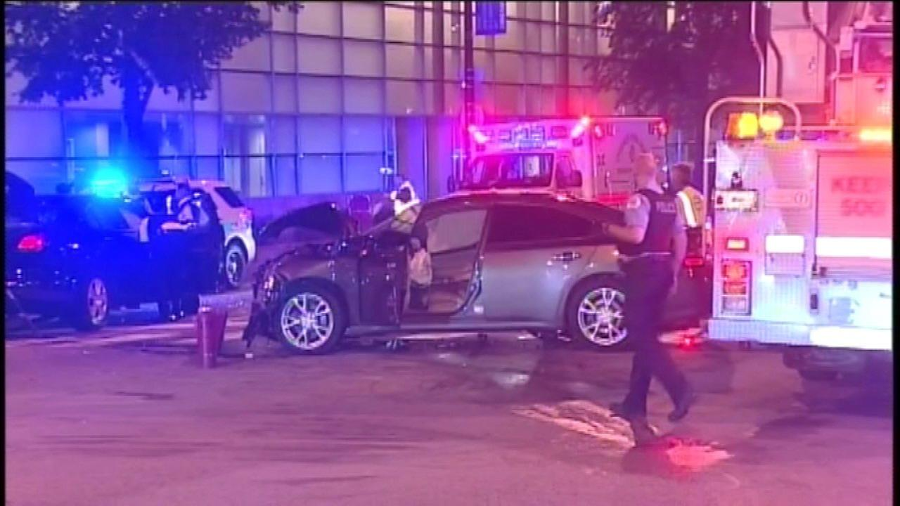 An officer was injured after a crash in the University Village neighborhood Saturday night.
