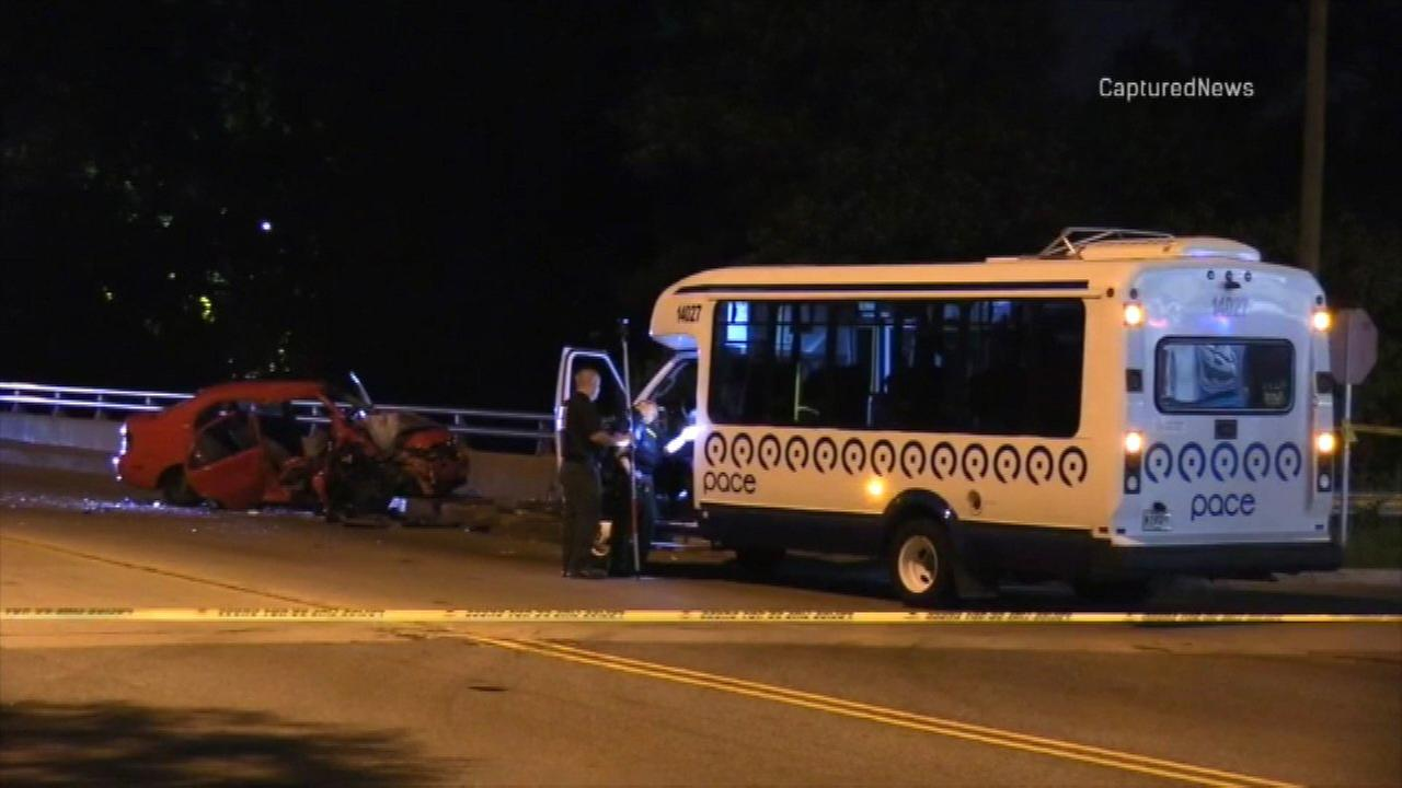Police investigate a fatal crash involving a car and a Pace bus in Dolton Friday night.