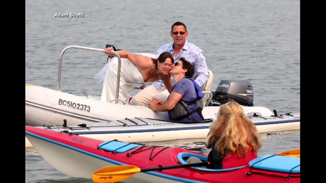 Canadian Prime Minister Trudeau falls out of kayak, kisses bride