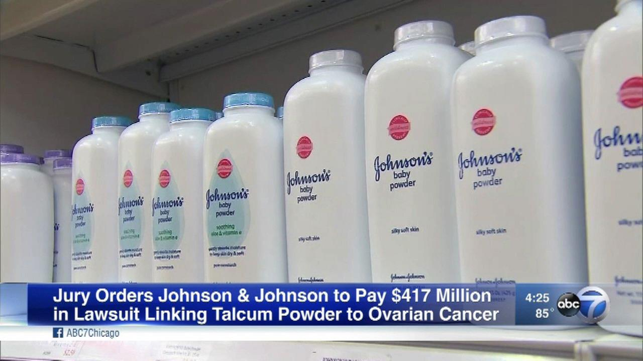 Johnson and Johnson was ordered to pay $417 million in a lawsuit linking talcum powder to increased risk of ovarian cancer.