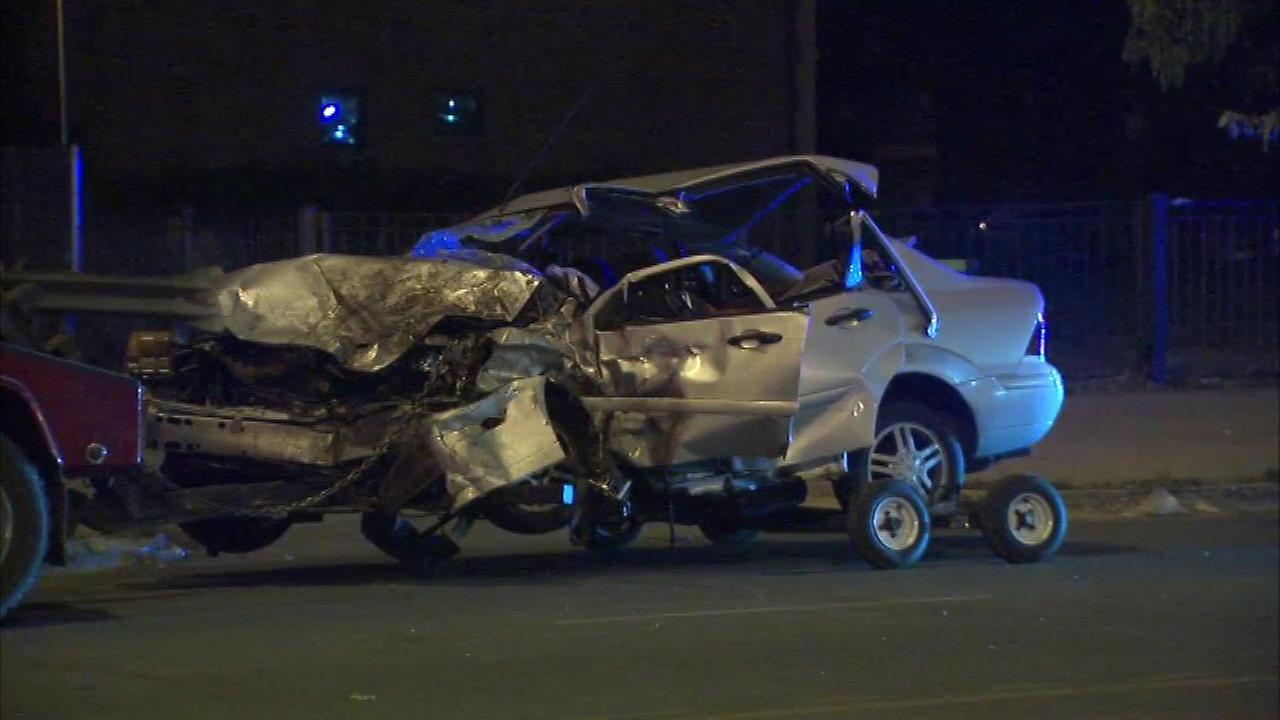 A Chicago police squad car was rear-ended in the 2500 block of West Fullerton Sunday night, police said.