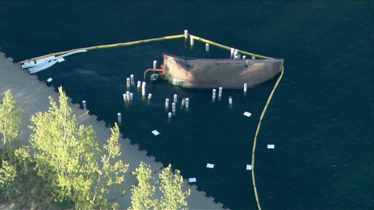 Three people have been hospitalized after a reported barge explosion on Lake Michigan near Michigan City, Ind. Friday afternoon.