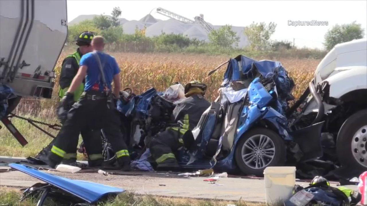 A person was killed and another was injured in a multi-vehicle crash Wednesday afternoon on Interstate 57 near Manteno.