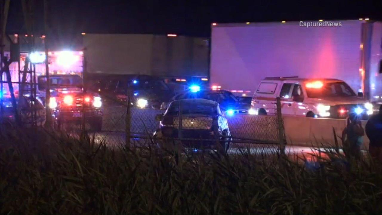 Police investigate a deadly crash on I-80 near Grant Street in Gary, Ind.