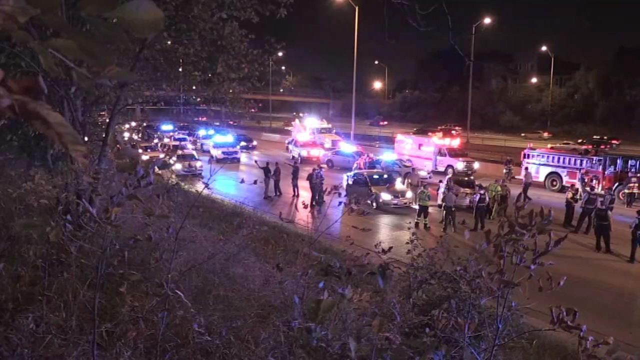 A suspect was injured in a police chase on the Eisenhower Expressway Sunday morning.