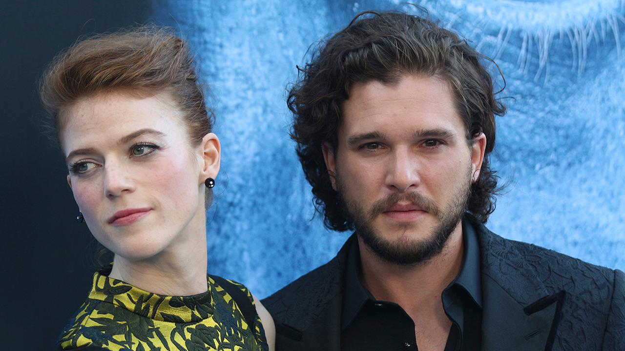Kit Harington, left, and Rose Leslie arrive at the LA Premiere of Game of Thrones at The Walt Disney Concert Hall on Wednesday, July 12, 2017 in Los Angeles.