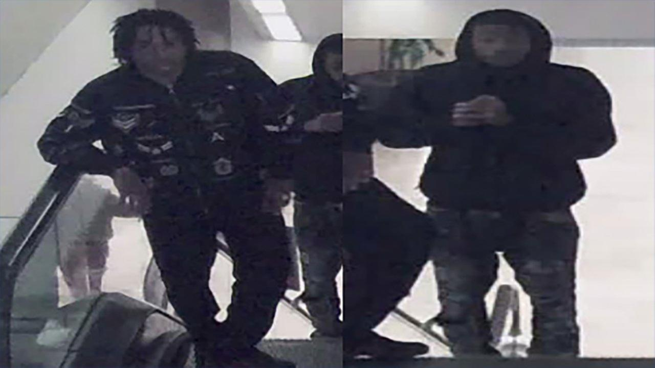 Surveillance footage of two men suspected of stealing from a high-end watch store Friday in the Magnificent Mile.