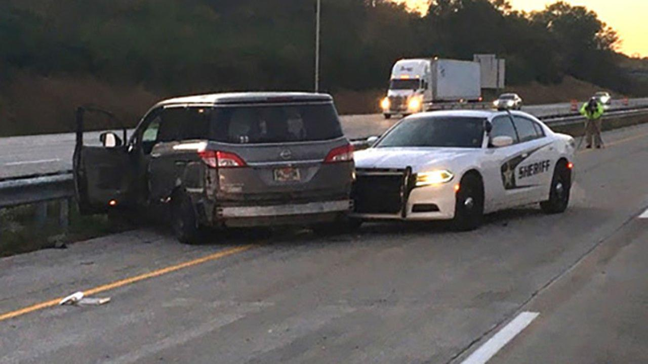 A stolen SUV and Newton County sheriffs office vehicle crashed along I-65 near Lafayette, Indiana, early Wednesday.