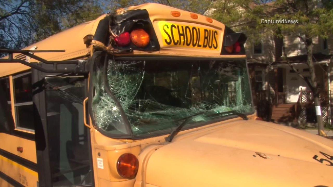 A school bus was damaged after hitting a large tree branch in the 2900-block of North Central Park Avenue Wednesday.