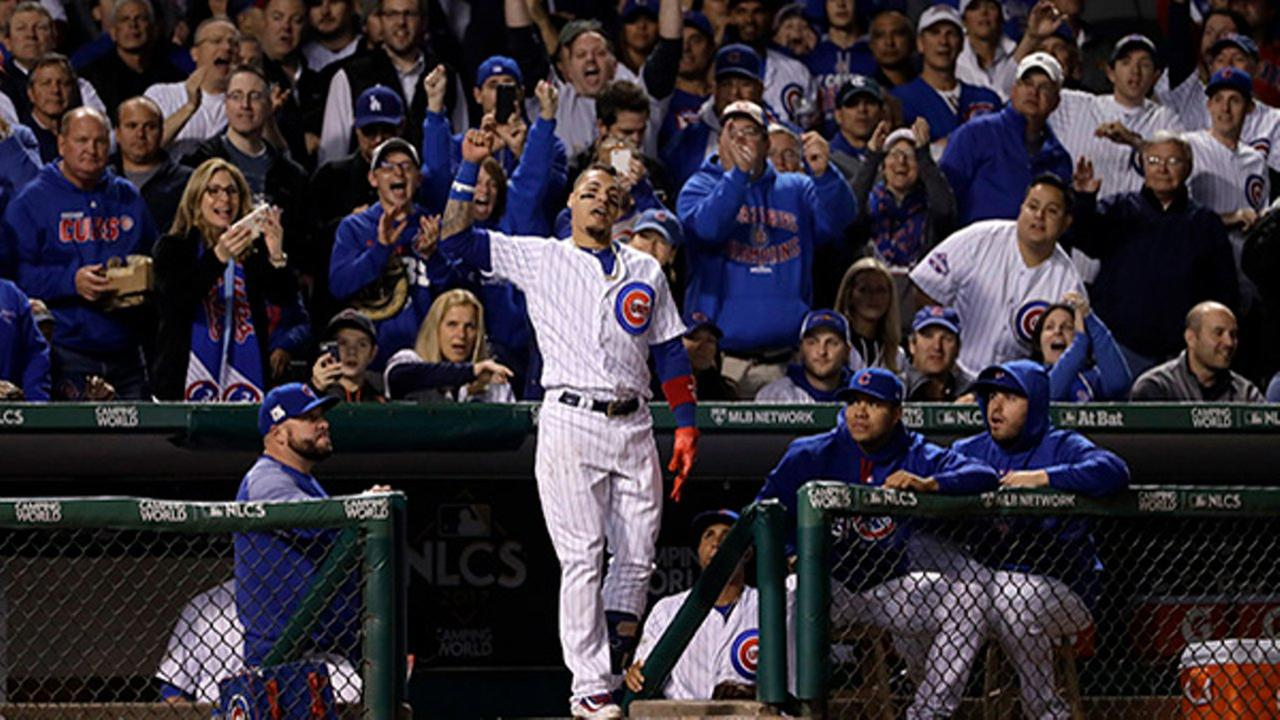 Chicago Cubs Javier Baez celebrates after hitting his second home run during the fifth inning of Game 4 of the NLCS against the LA Dodgers.