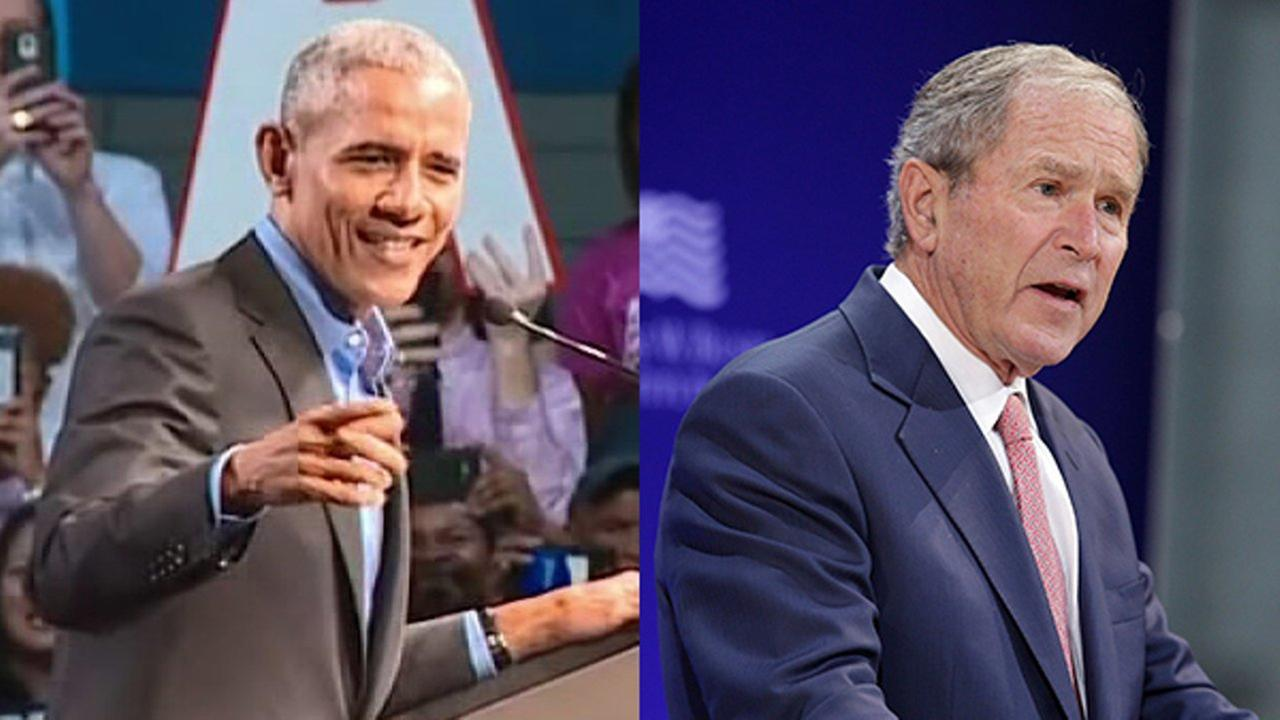 Former President Barack Obama and former President George W. Bush speak about politics on Thursday, Oct. 19, 2017.