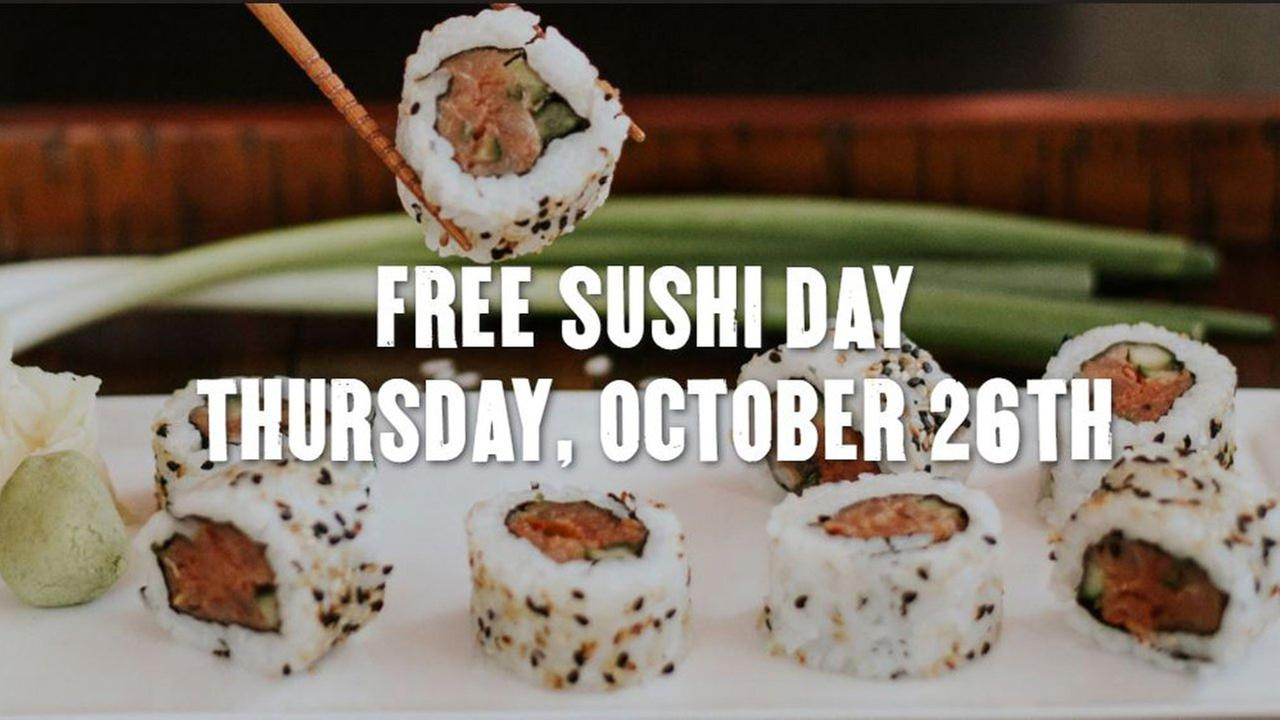P.F. Changs is offering a free sushi roll to customers who dine-in at participating locations on Thursday, October 26.