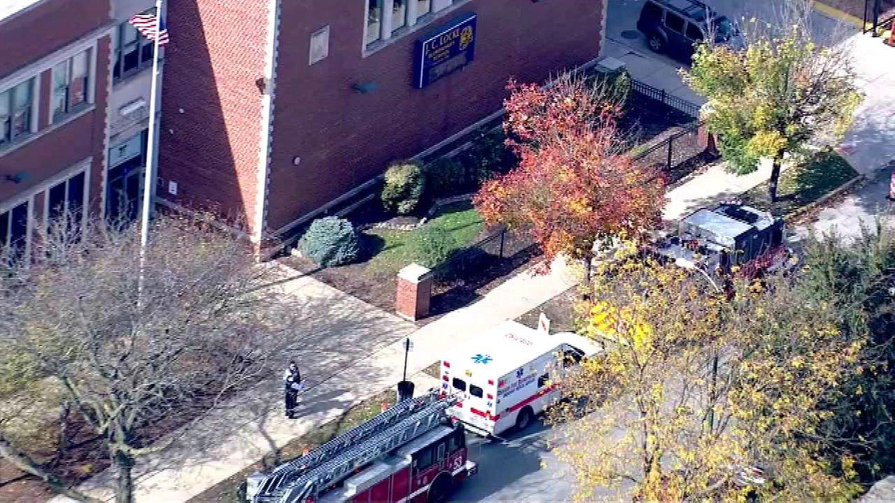 Chopper 7-HD was over the scene of the school, where multiple fire trucks and ambulances were parked.