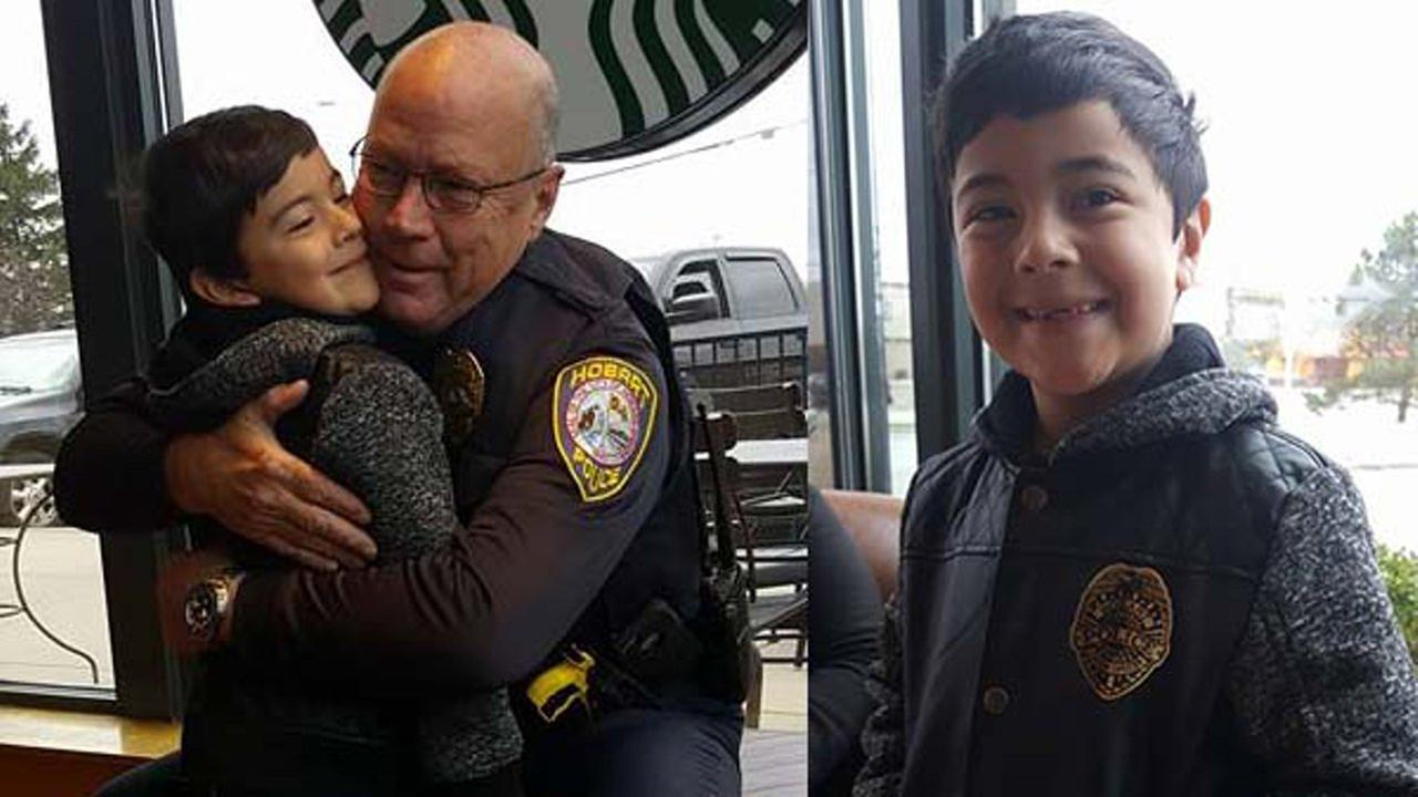 A police sergeant in northwest Indiana is being applauded on social media for his random act of kindness toward a young boy.