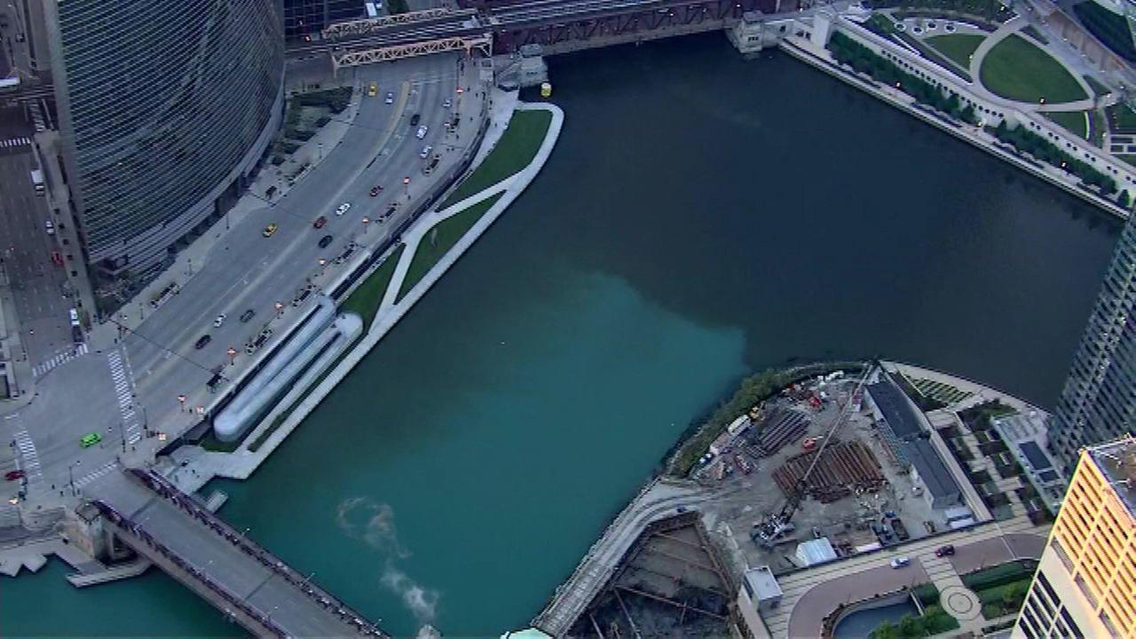Chicago River's two-tone color caused by rain, officials say