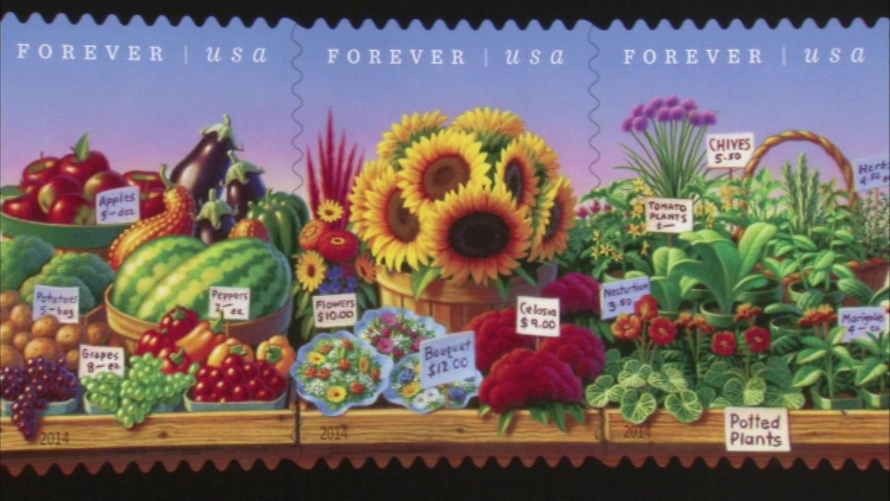New stamp celebrating farmers markets unveiled at Daley Plaza
