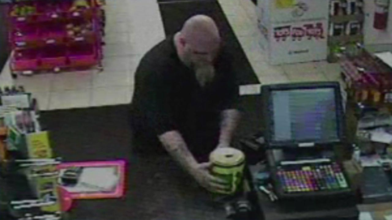 Surveillance photo of the suspect who stole a Toys For Tots donation jar from a gas station early Sunday in Winthrop Harbor.