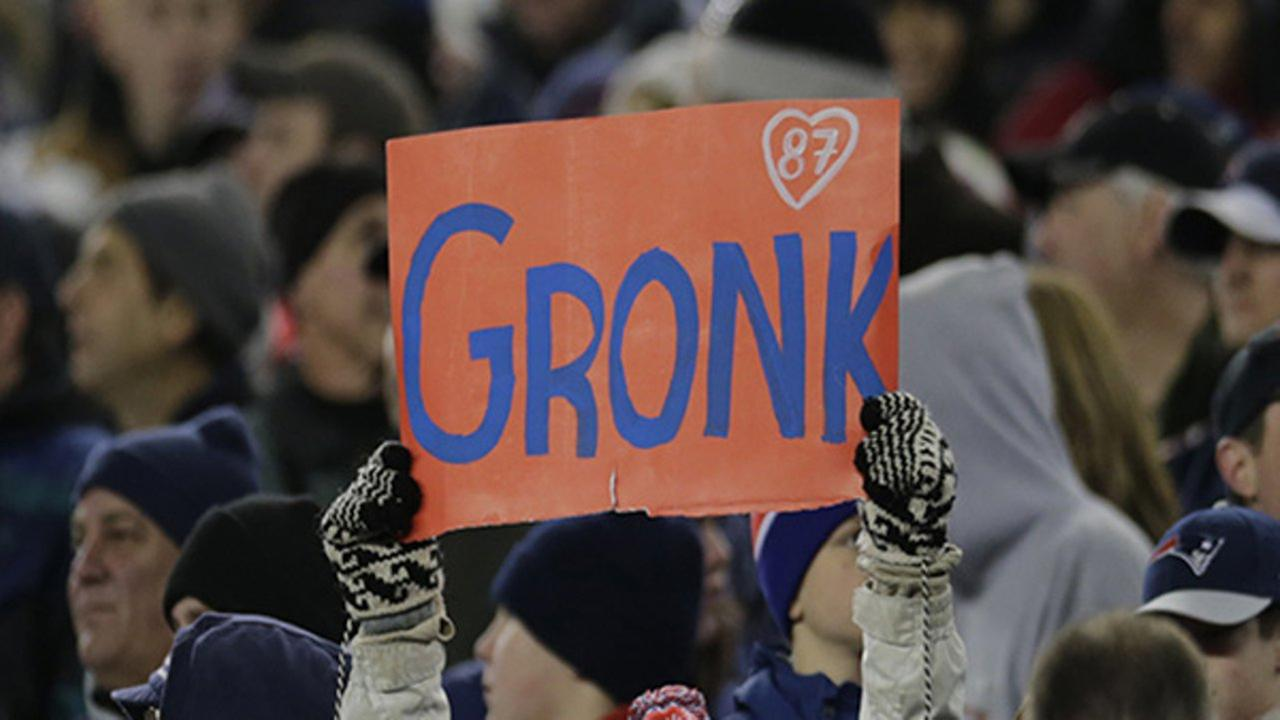 A fan of New England Patriots tight end Rob Gronkowski an holds up a Gronk sign during an NFL football game at Gillette Stadium in Foxborough, Mass., Sunday, Nov. 18, 2012.