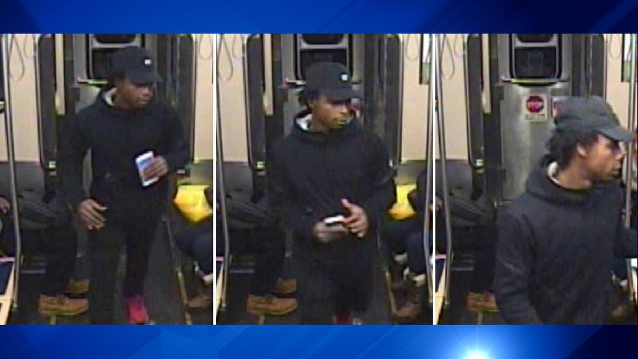 Surveillance images of a suspect in a robbery aboard a Green Line train on Nov. 13.