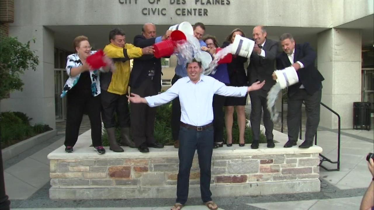 Des Plaines Mayor Matthew Bogusz completed the ALS ice bucket challenge just before Monday nights council meeting.