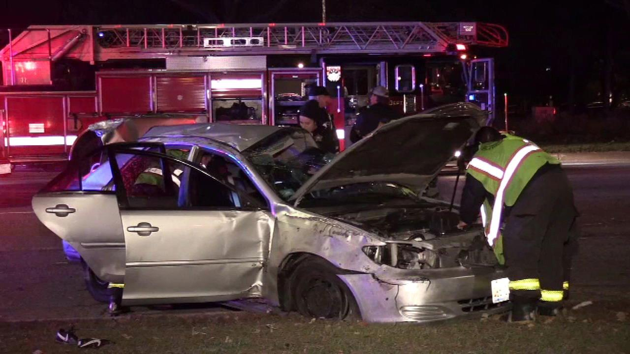 Five people were injured in a crash in the 5200-block of North Lake Shore Drive.