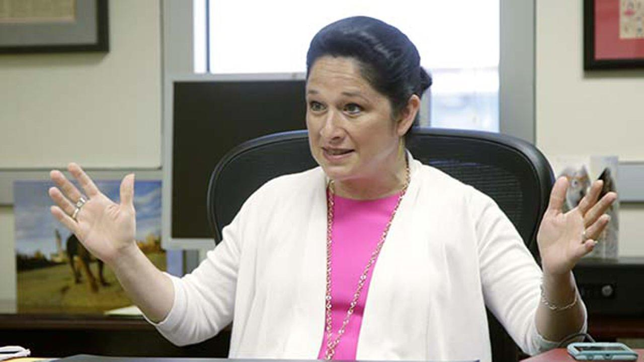 FILE - In this June 14, 2017, file photo, Illinois Comptroller Susana Mendoza, speaks during an interview in Chicago.