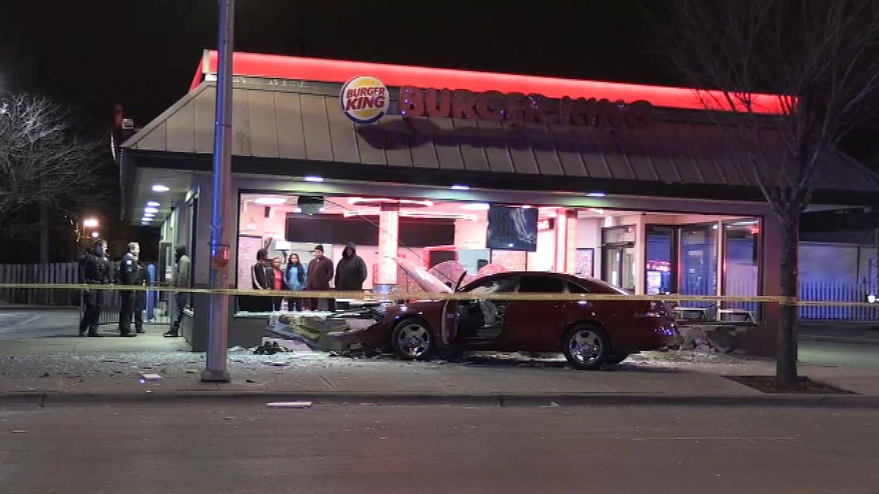 A car crashed into a Burger King in the 3900-block of West Chicago Avenue Saturday morning.