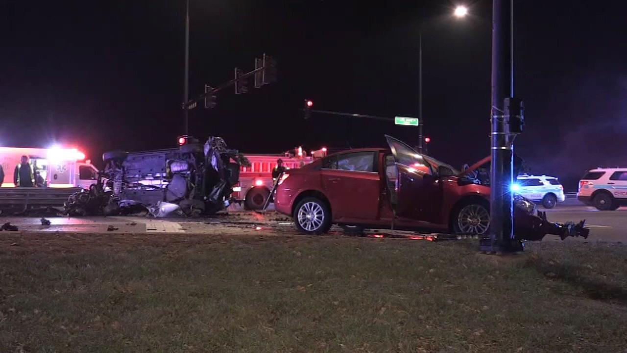 Six people were injured after a crash in the 5900-block of South Lake Shore Drive Sunday morning.