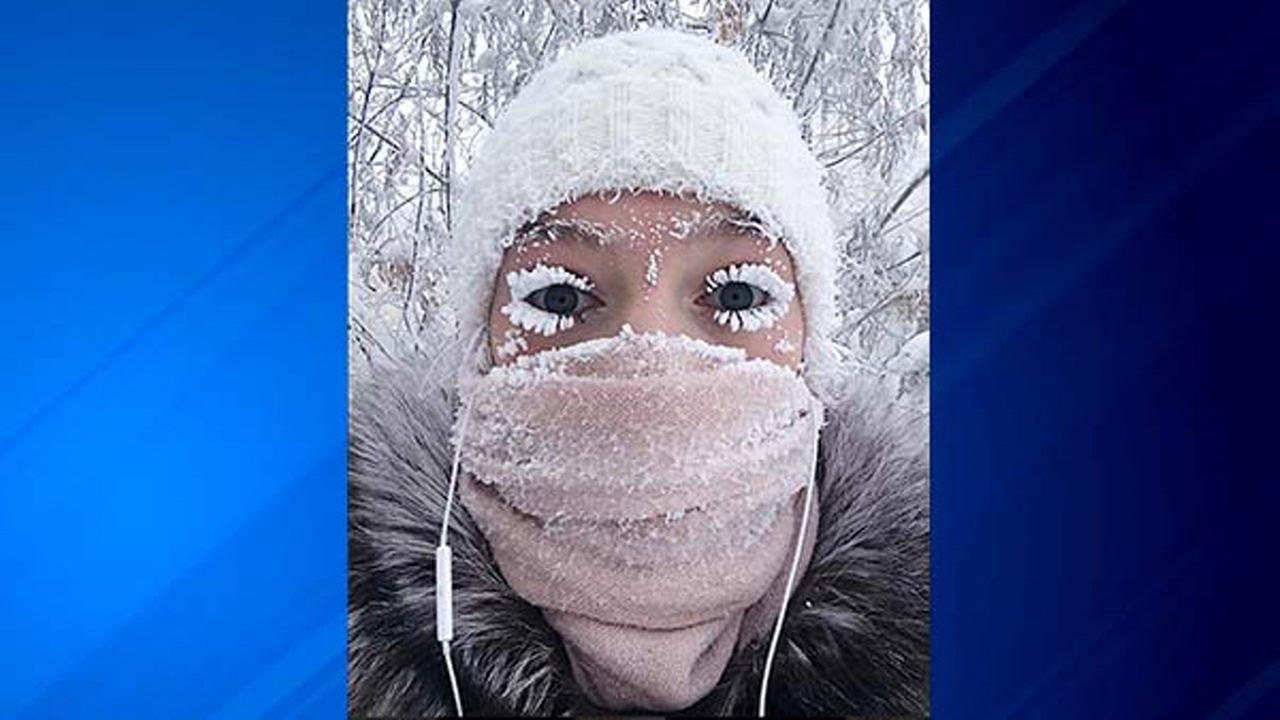 eyelashes freeze in yakutsk, russia