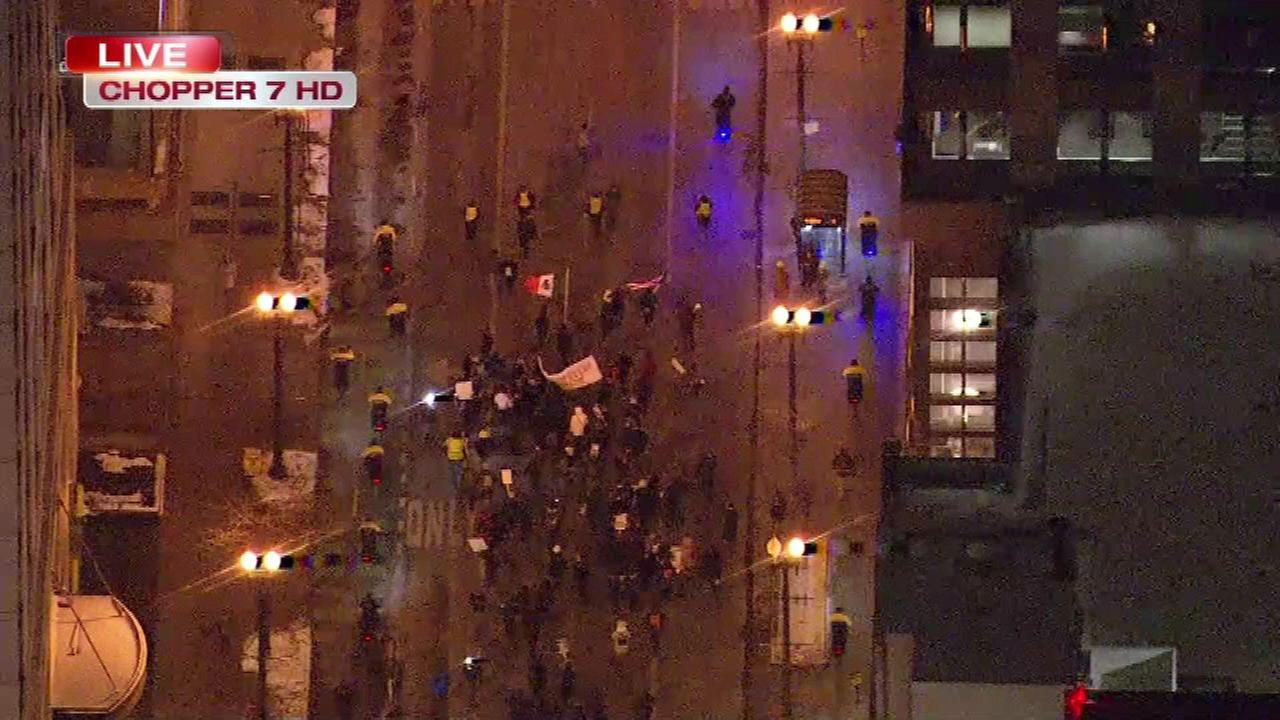 Community groups held a rally and march through Chicagos Loop Wednesday night in support of immigrant rights.