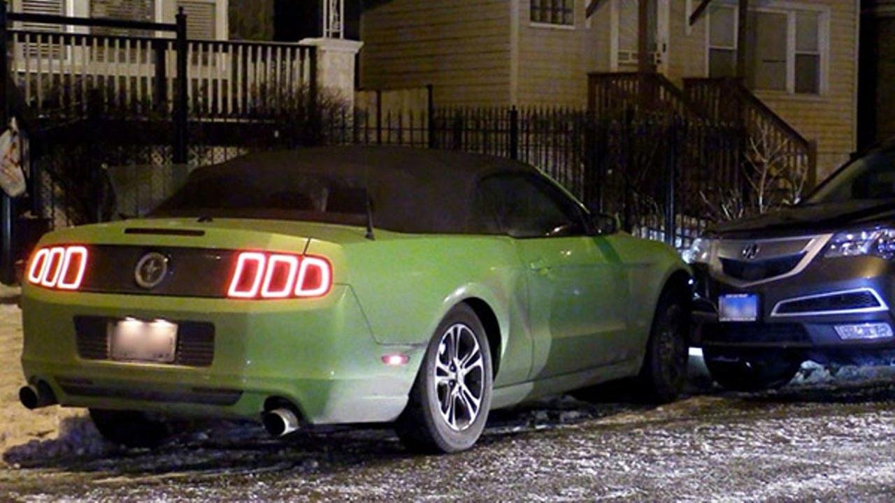 A stolen mustang crashed into another vehicle in the 8700 block of Union. Two people were taken into custody after a nearly hour-long chase.