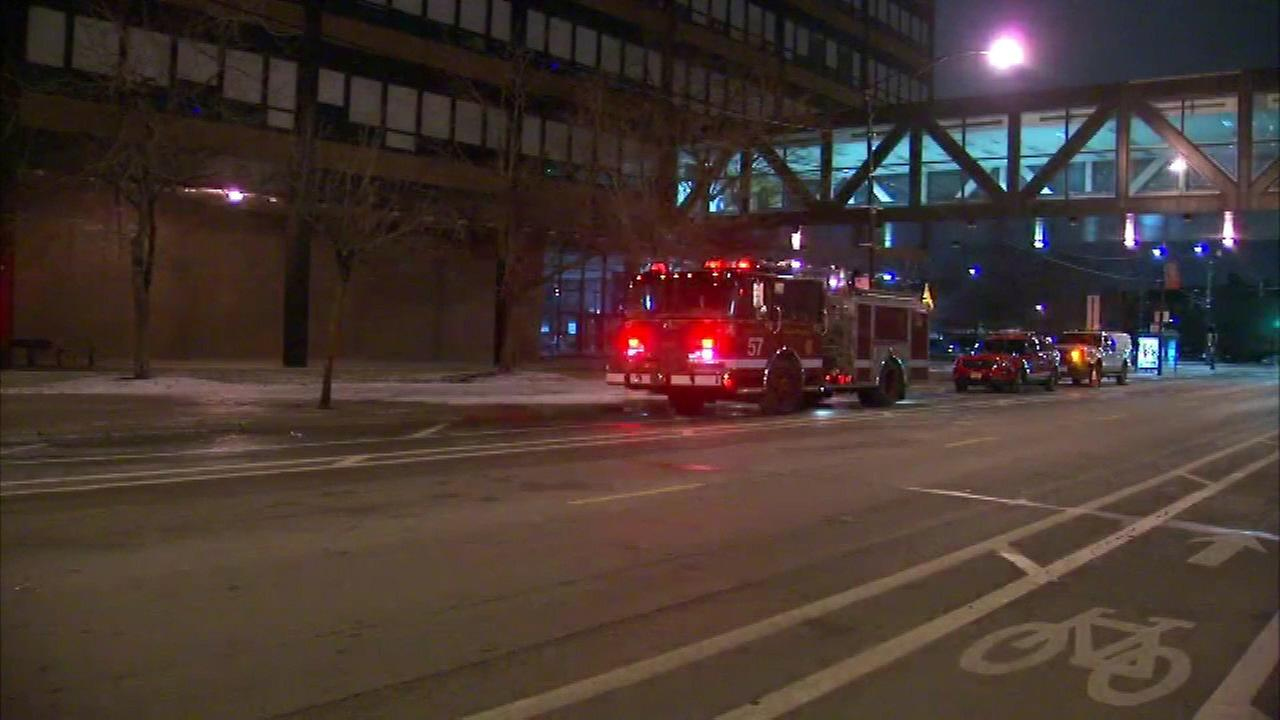 The Chicago Fire Department responds to a fire at Roberto Clemente High School Wednesday morning.
