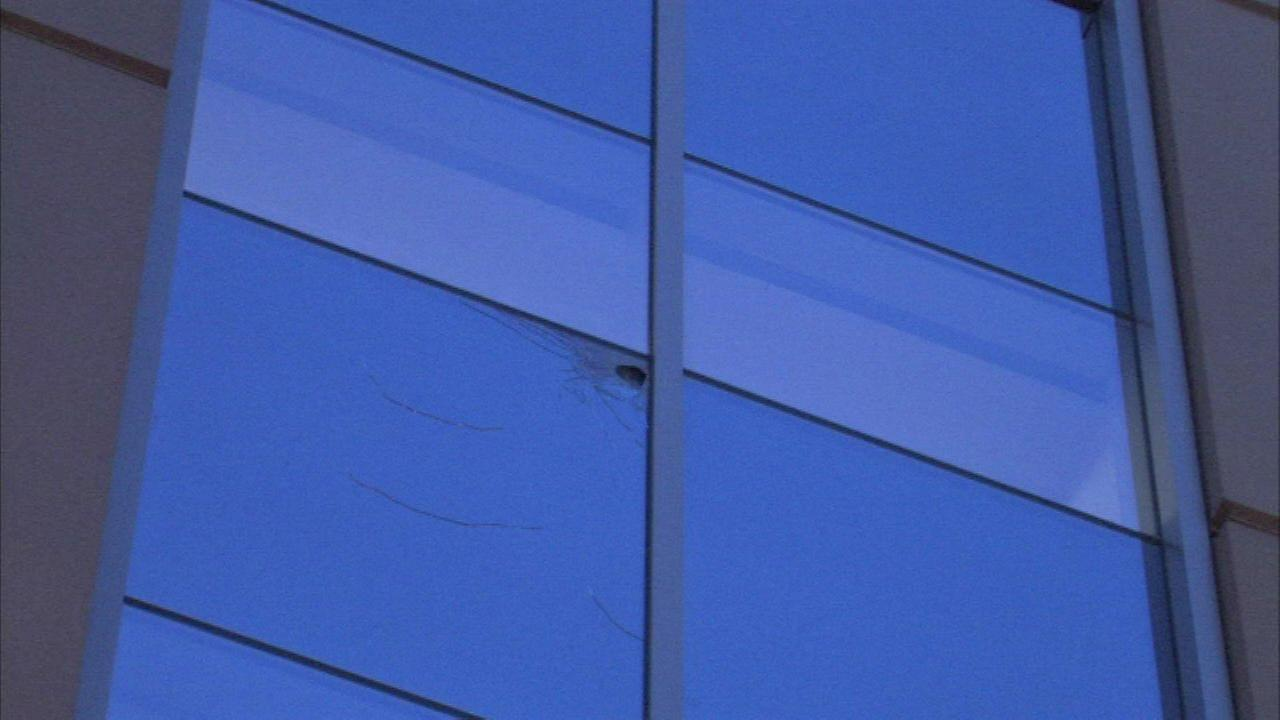A window at Northwestern Memorial Hospital was damaged by bullets Friday morning.