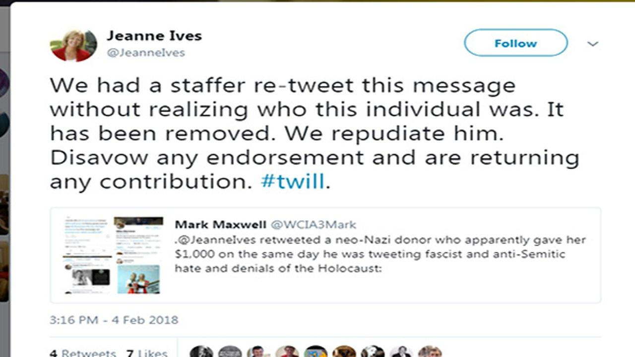 Republican candidate Jeanne Ives returned a donation to her campaign after it was revealed to have been from a Neo-Nazi.