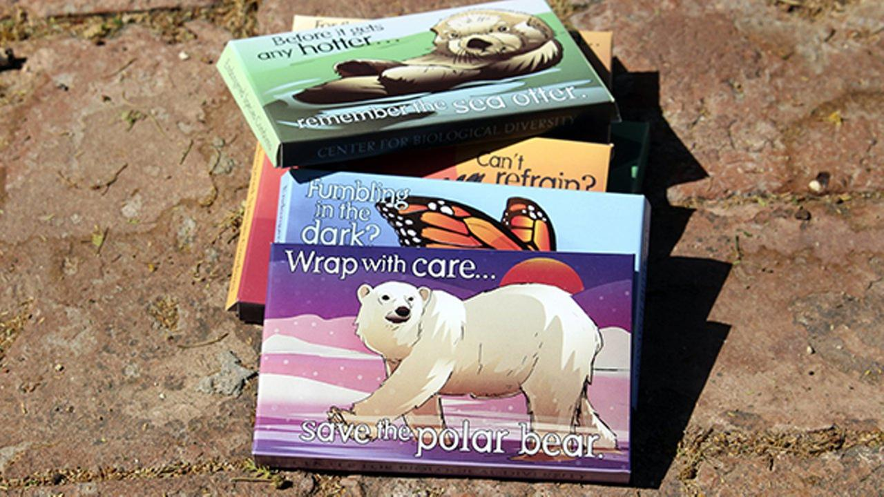 Photo shows packages designed by Lori Lieber from the Endangered Species Condoms series, featuring rhyming maxims and Shawn DiCriscios illustrations.