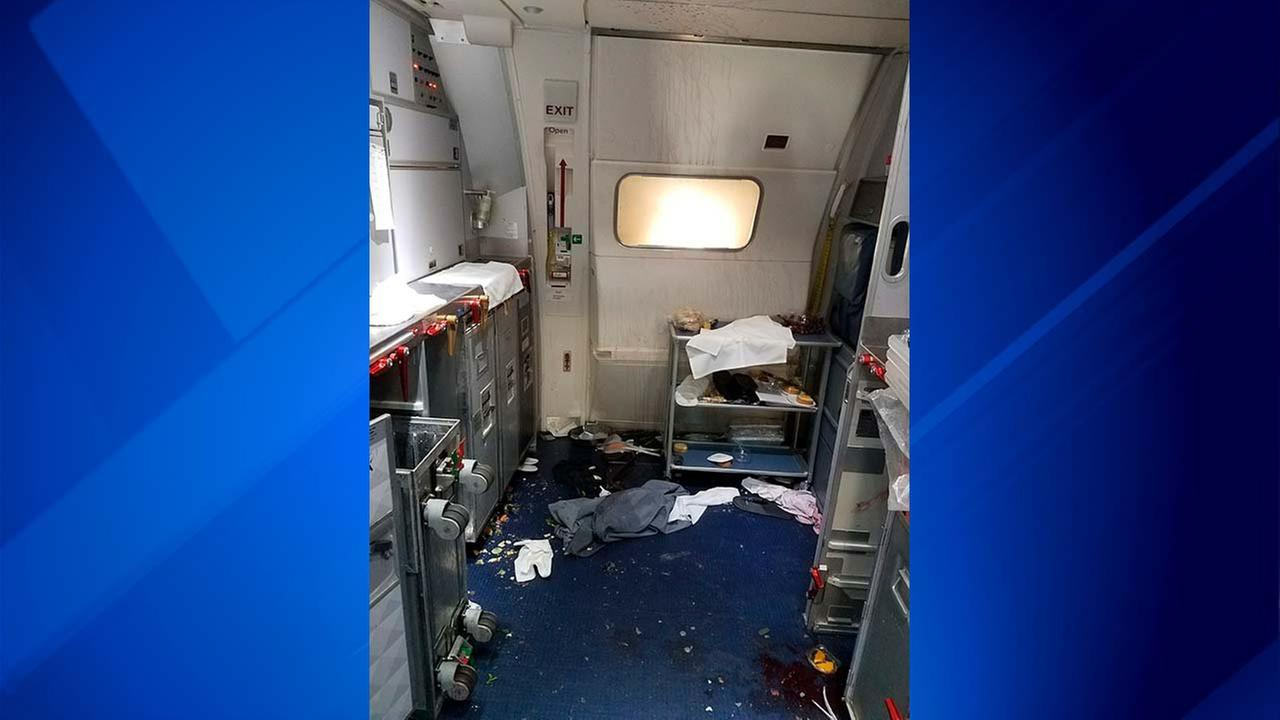 A July 7, 2017 file photo taken by the FBI and released via the U.S. Attorneys Office in Seattle shows the aftermath of a cabin on Delta Flight 129 from Seattle to Beijing..