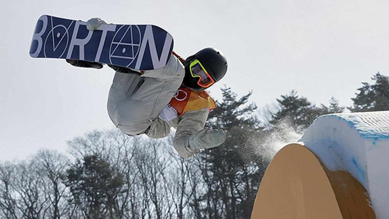 Red Gerard, of the United States, jumps during the mens slopestyle final at Phoenix Snow Park at the 2018 Winter Olympics in Pyeongchang, South Korea, Sunday, Feb. 11, 2018.