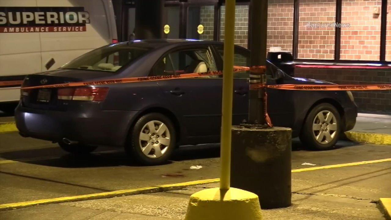 A car is parked at Jackson Park Hospital after a passenger in the car was shot in the 7500-block of South Stony island Avenue.