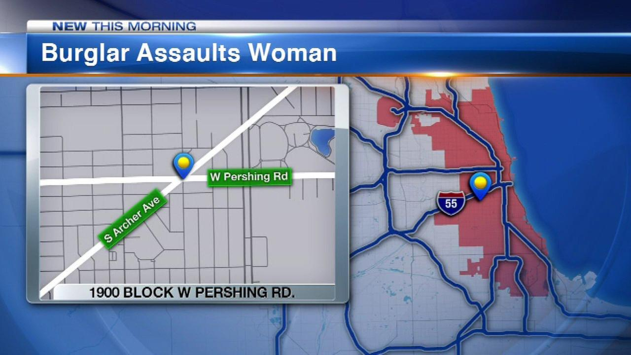 Chicago police said a woman was sexually assaulted after a home invader climbed into her home through a window Tuesday afternoon in the 2600-block of West Pershing Avenue.