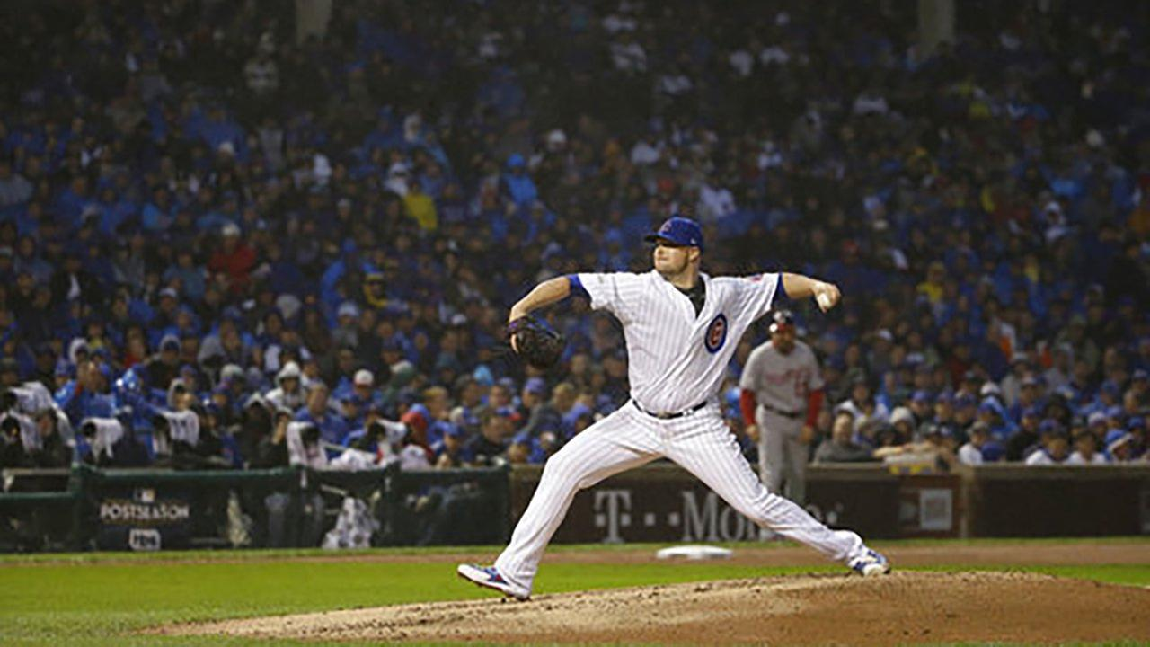 Chicago Cubs Jon Lester throws during the eighth inning of Game 4 of the National League Division Series against the Washington Nationals, Wednesday, Oct. 11, 2017 in Chicago.