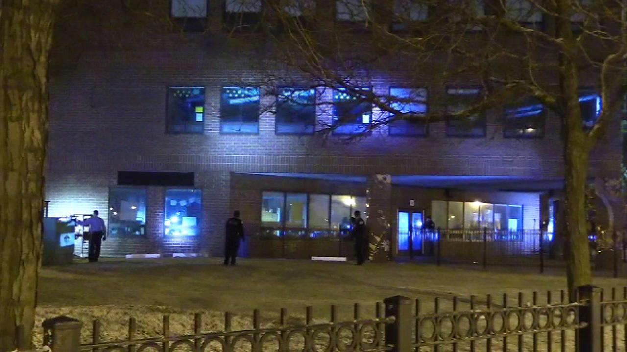 Chicago police investigate a reported break-in at the Andrew Jackson Language Academy on the Near West Side.